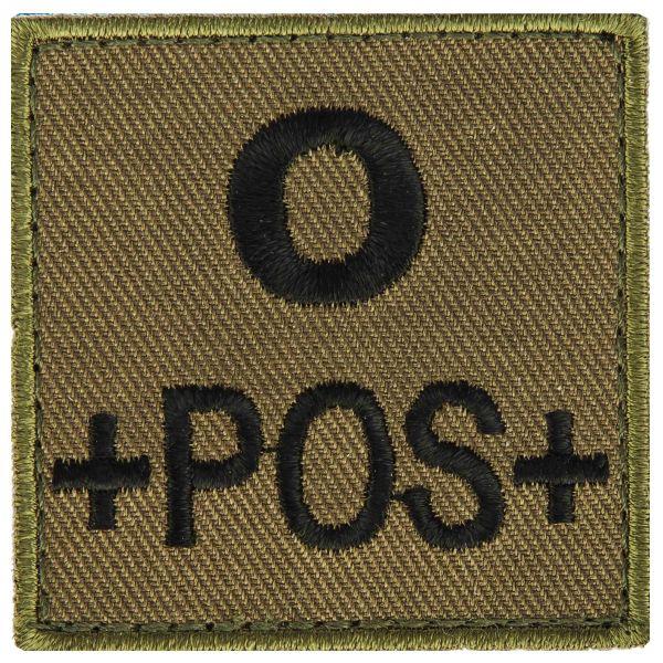 T.O.E Blutgruppenpatch Blutgruppe 0 positiv grün