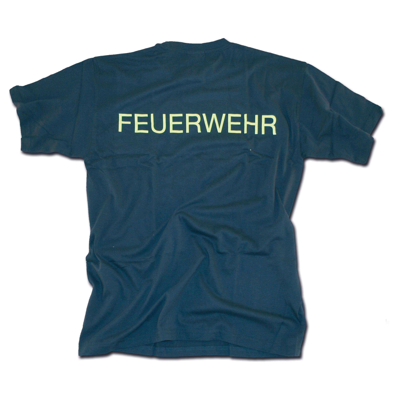 T-Shirt Feuerwehr blau-gelb