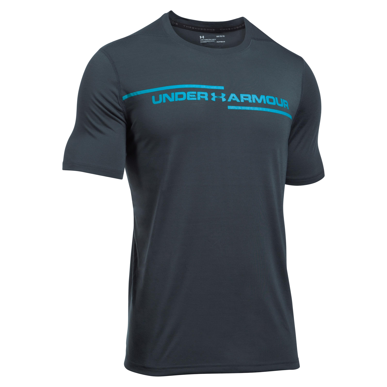 Under Armour T-Shirt Threadborne Cross Chest grau-blau