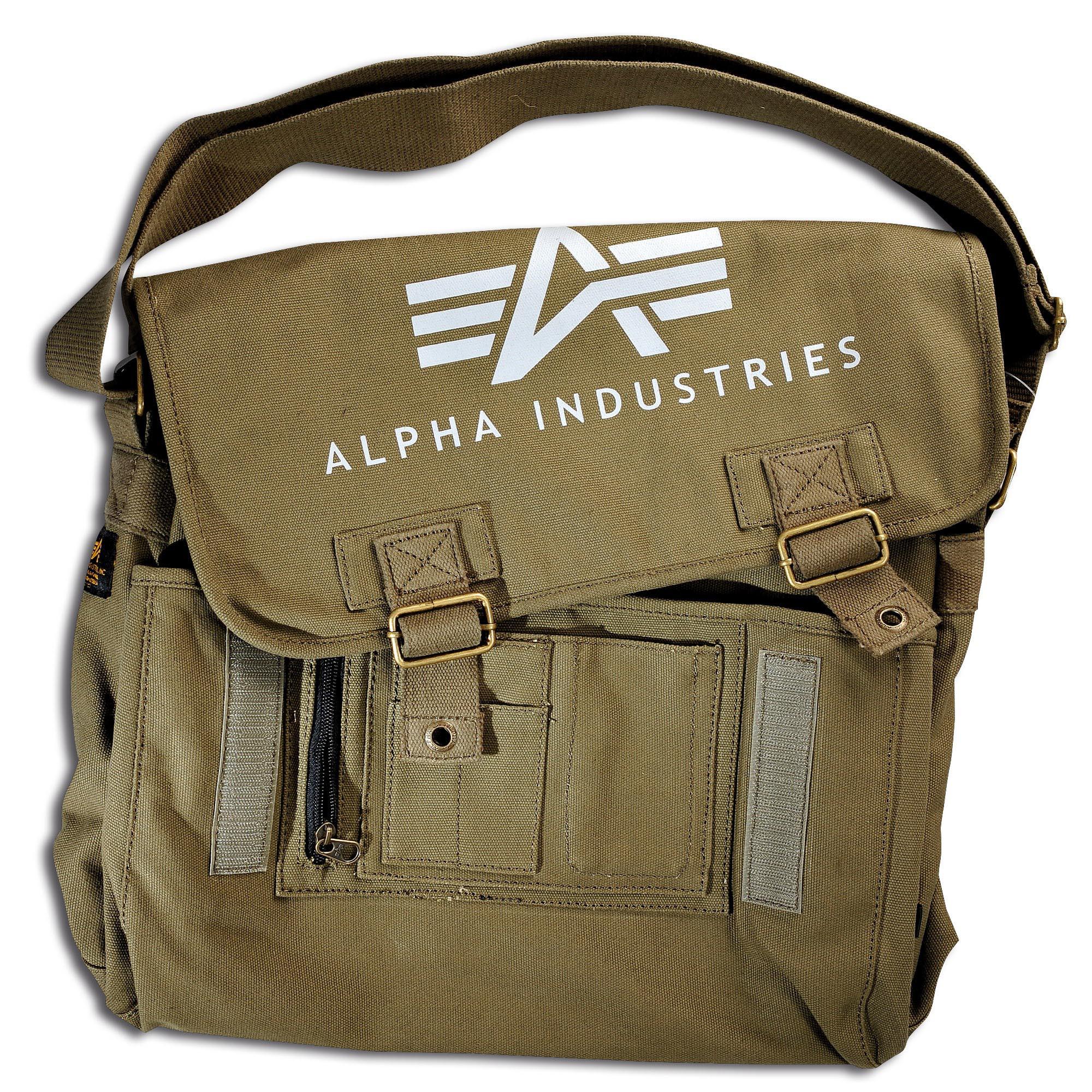 Alpha Industries Big A Canvas Courier Bag oliv