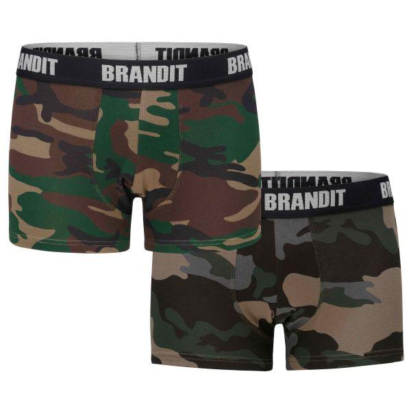 Brandit Boxershorts Logo woodland darkcamo 2er Pack