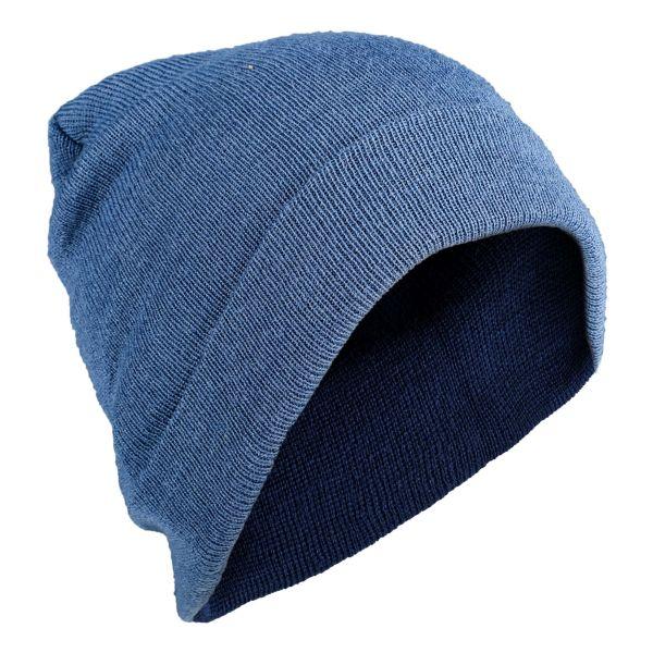 Rollmütze Wolle royalblau