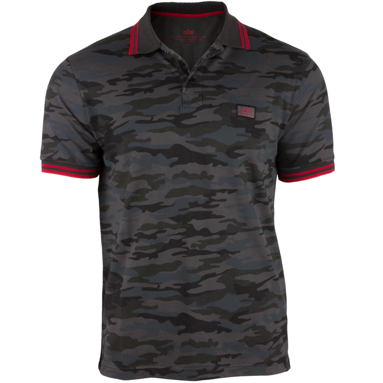 Alpha Industries Shirt Twin Stripe Polo blackcamo