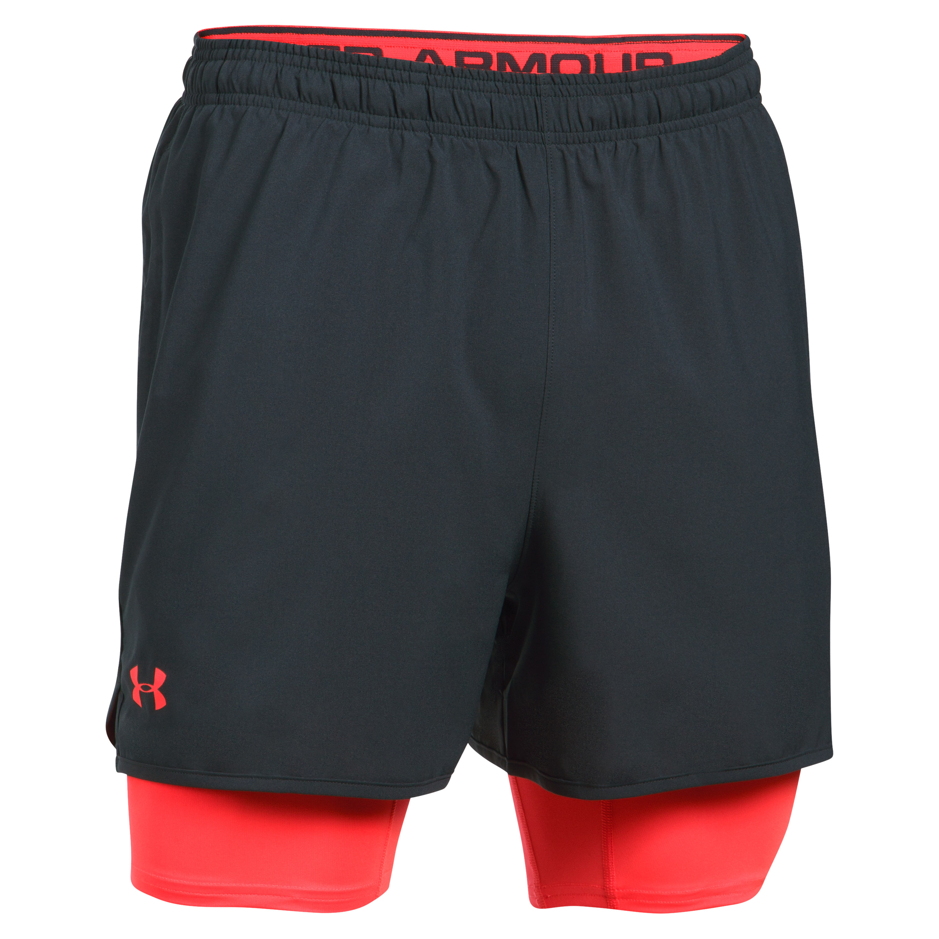 Under Armour Short Qualifier 2 in 1 grau-rot