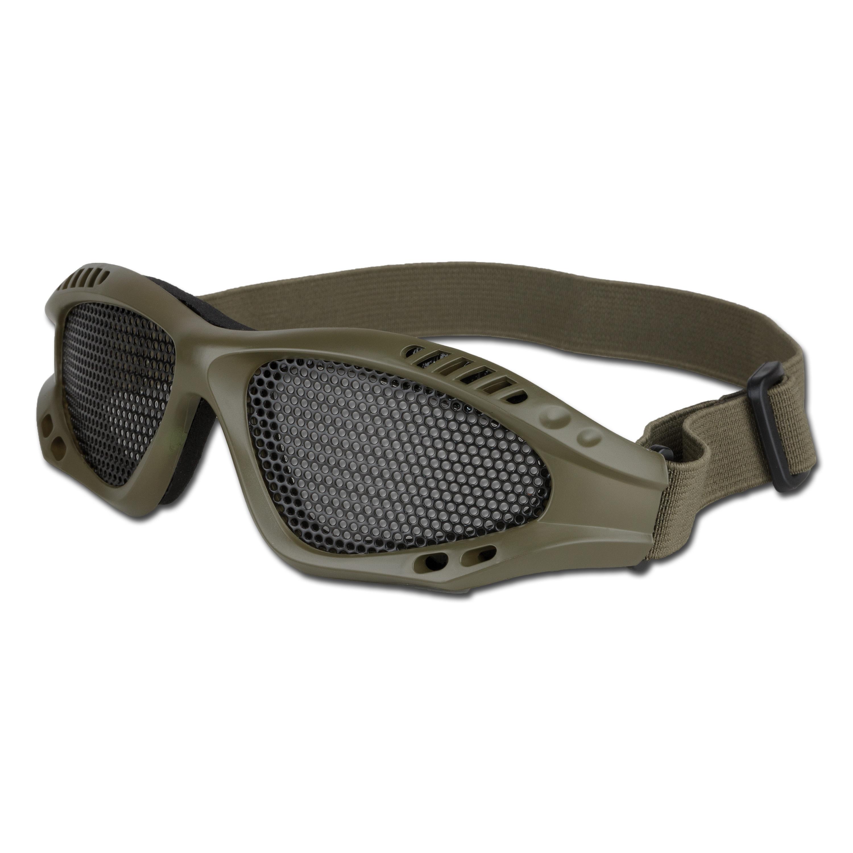 Airsoftbrille mit Metallgittereinsatz oliv