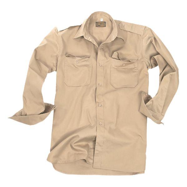 Trikothemd Langarm Baumwolle khaki