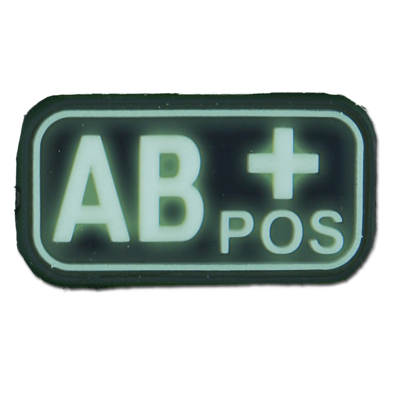 3D Blutgruppenpatch AB Pos nachleuchtend