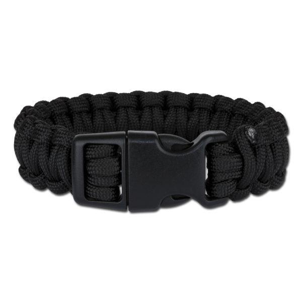 Survival Paracord Bracelet breit schwarz