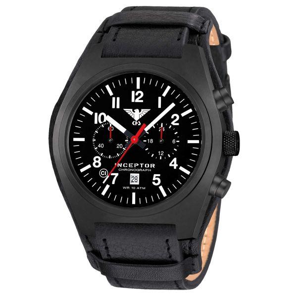 KHS Uhr Inceptor Black Steel Chronograph Leder-G-Pad schwarz
