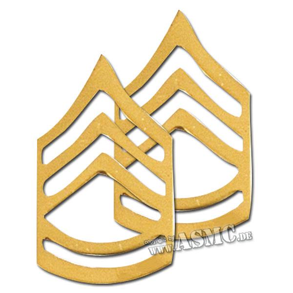 Rangabzeichen Metall US Sergeant F.C. polished
