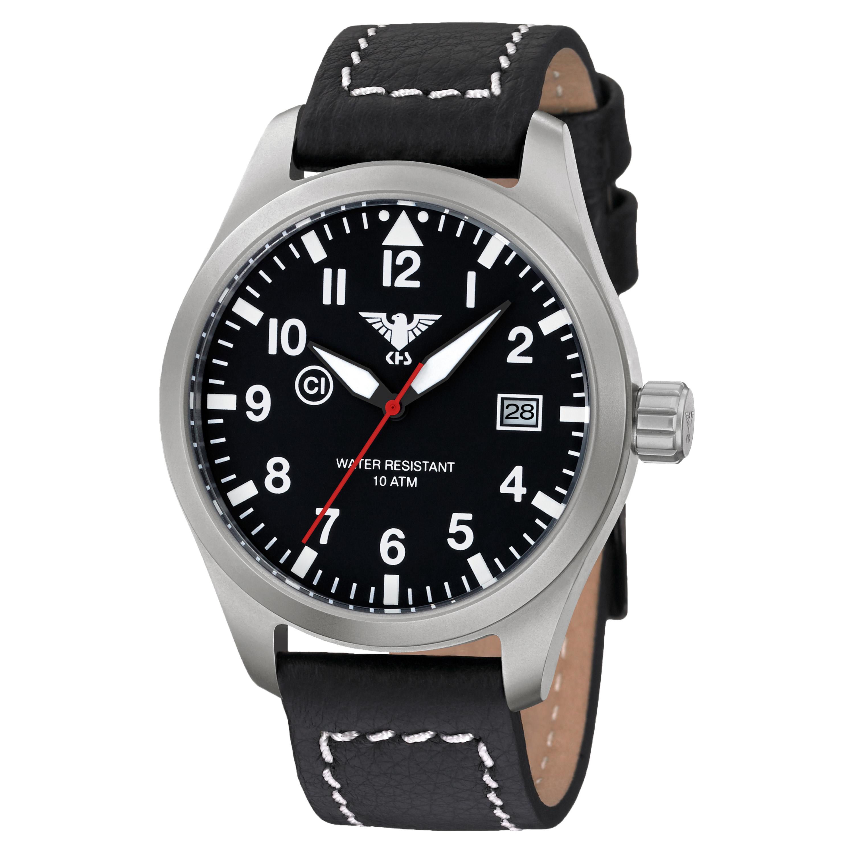 Uhr KHS Airleader Steel mit Büffellederband schwarz