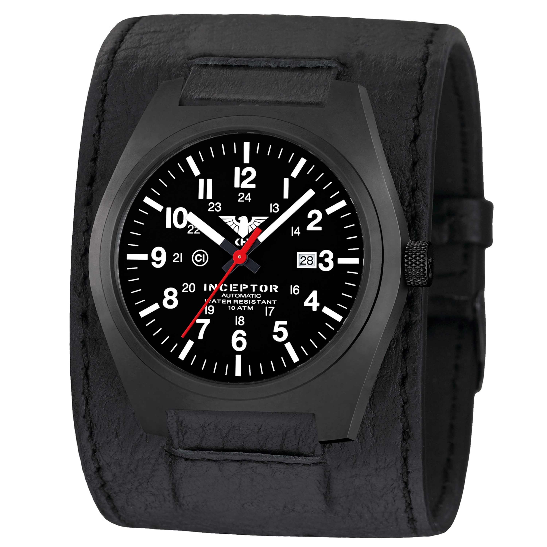 KHS Uhr Inceptor Black Steel Automatic Lederkraftband schwarz