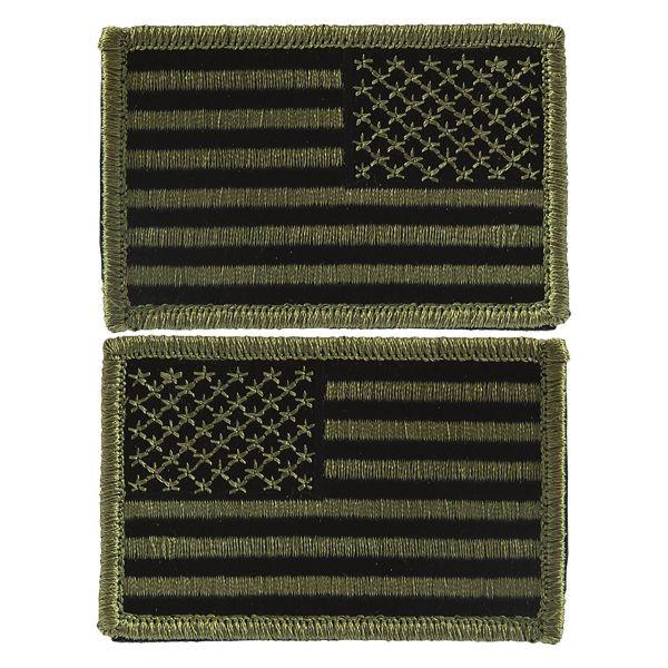 Abzeichen US Flagge m. Klett oliv