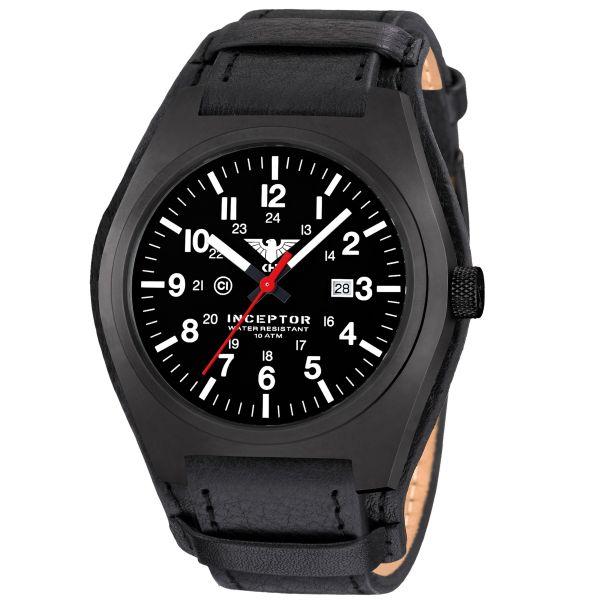 KHS Uhr Inceptor Black Steel Lederband G-Pad
