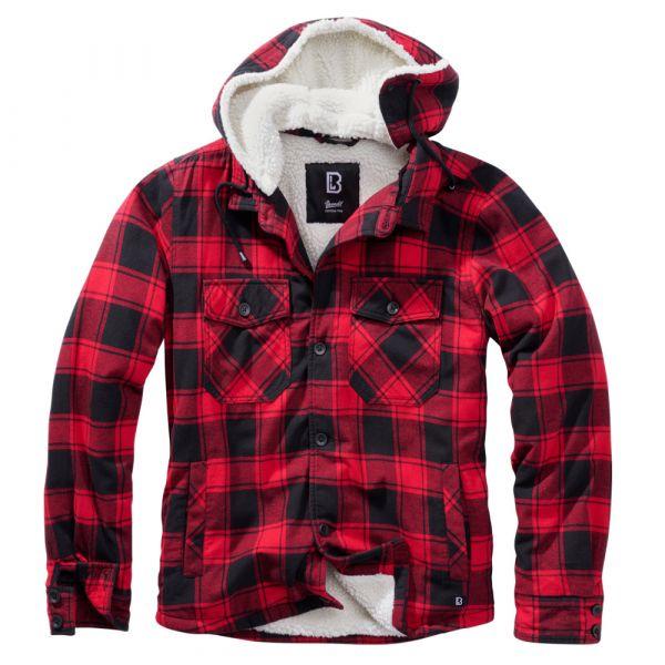 Brandit Lumberjacket hooded rot schwarz