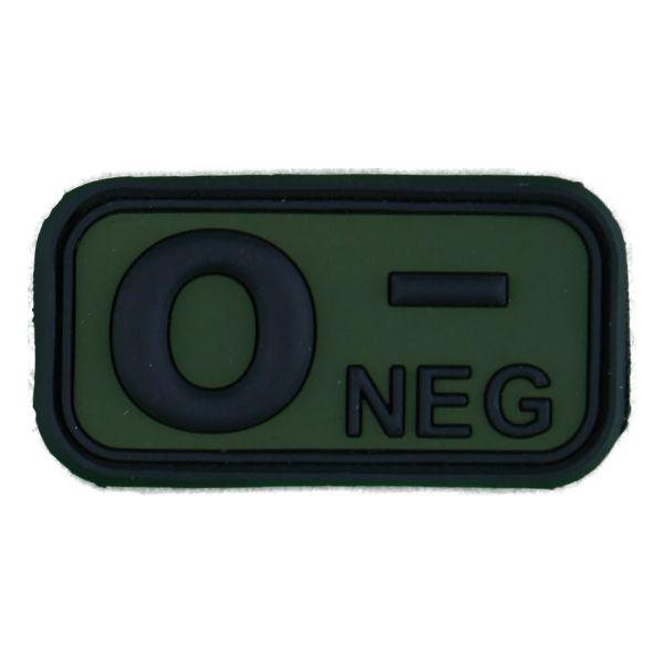 3D Blutgruppenpatch 0 Neg schwarz-oliv