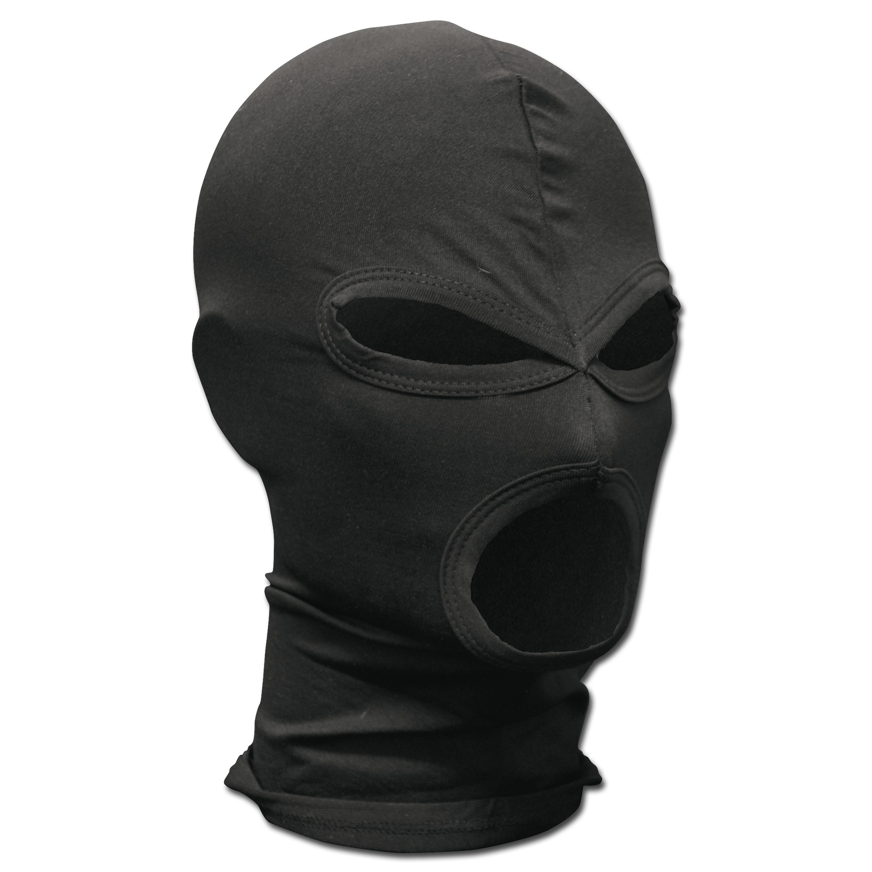 Kopfhaube 3-Loch schwarz Elasthan