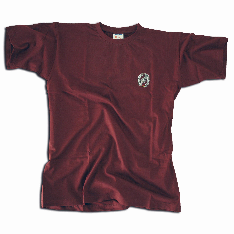 T-Shirt bestickt Fallschirmjäger bordeaux