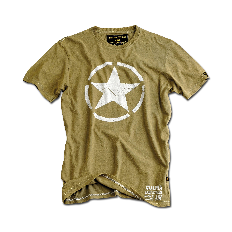 T-Shirt Alpha Industries Star oliv