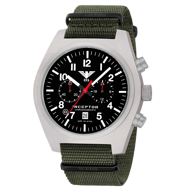 KHS Uhr Inceptor Steel Chronograph Natoband oliv