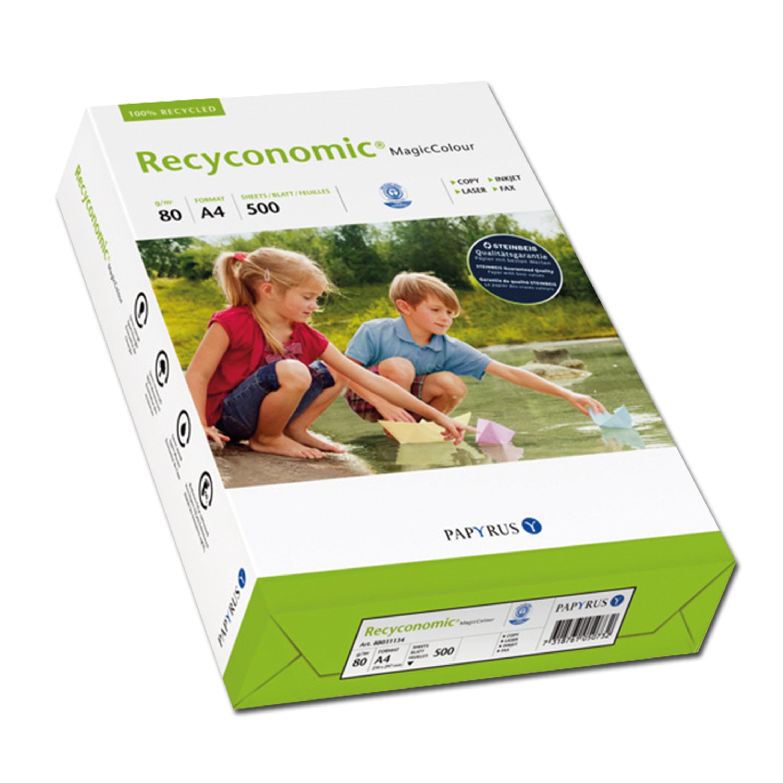 Farbiges Recyclingpapier A4 gelb 80 g/qm 500 Blatt
