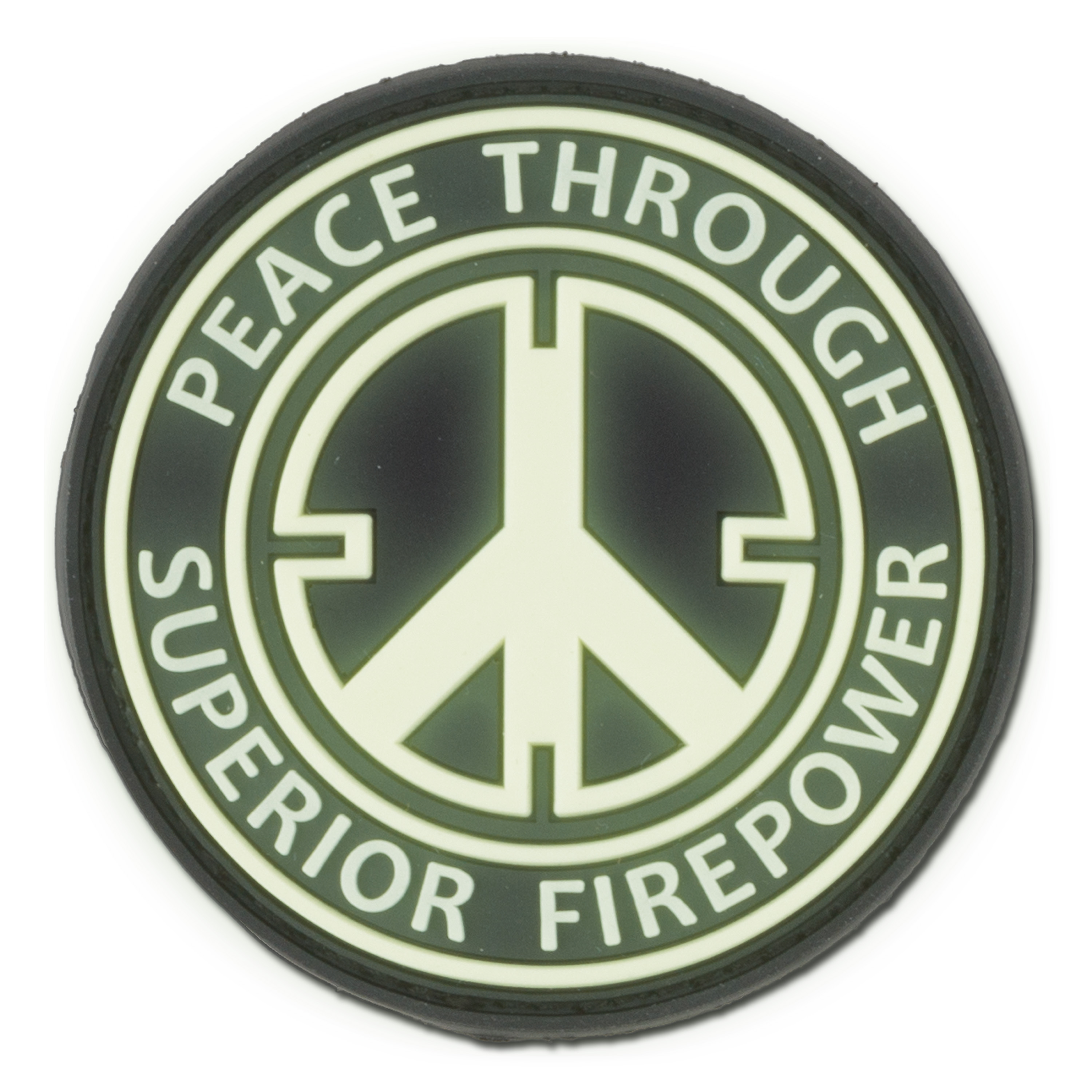 3D-Patch Peace Through Superior Firepower nachleuchtend