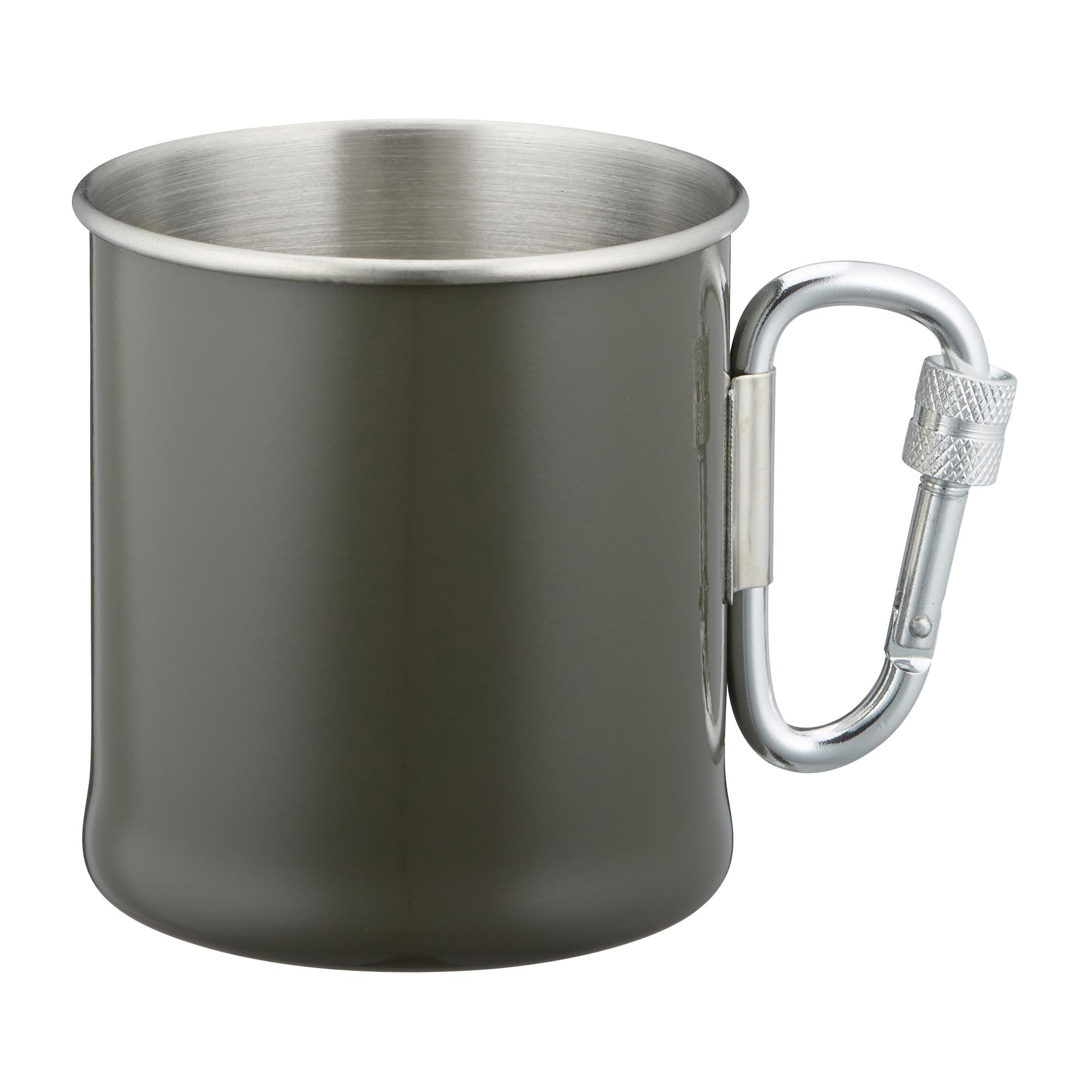 Karabinerbecher Edelstahl 250 ml oliv