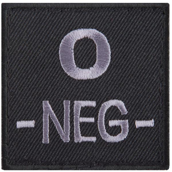 T.O.E Blutgruppenpatch Blutgruppe 0 negativ schwarz