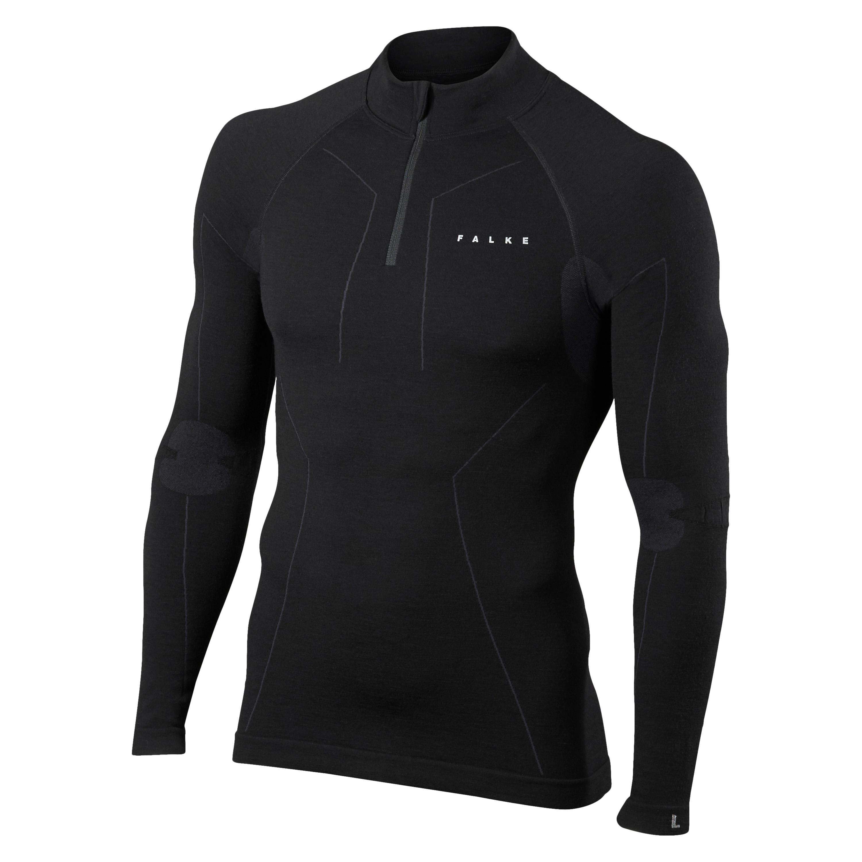 FALKE Zip LS Shirt Merino Comfort schwarz