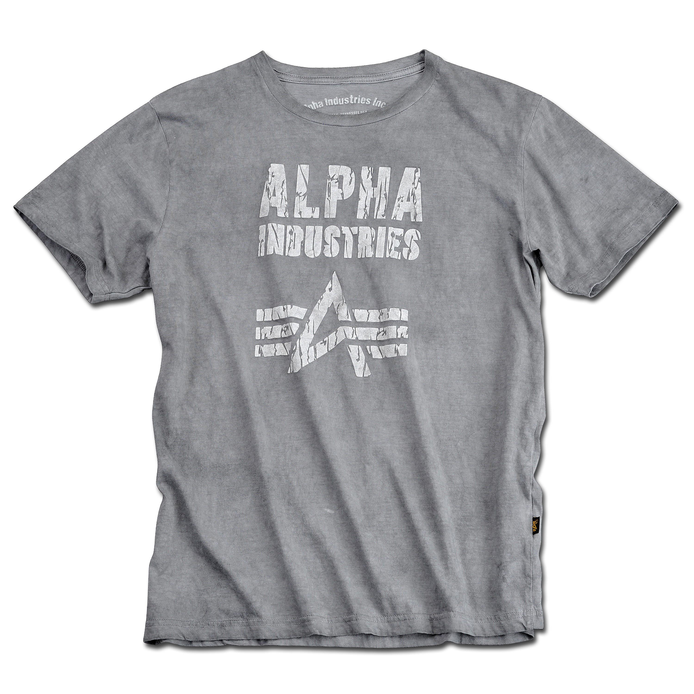 T-Shirt Alpha Industries Crack Print T grau-schwarz