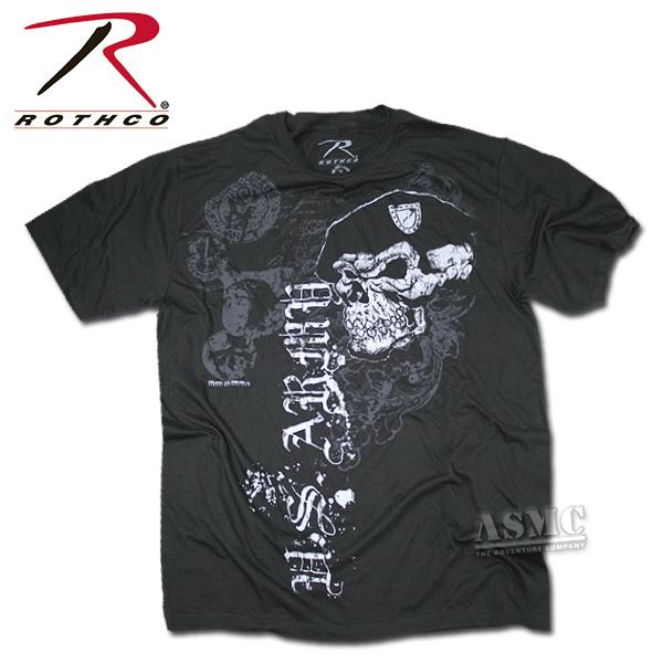 T-Shirt Black Ink Skull with Beret
