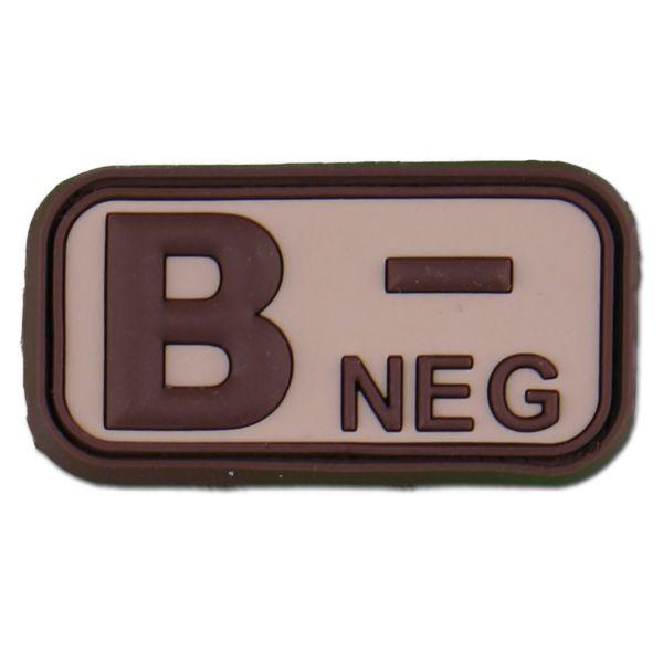 3D Blutgruppenpatch B Neg desert