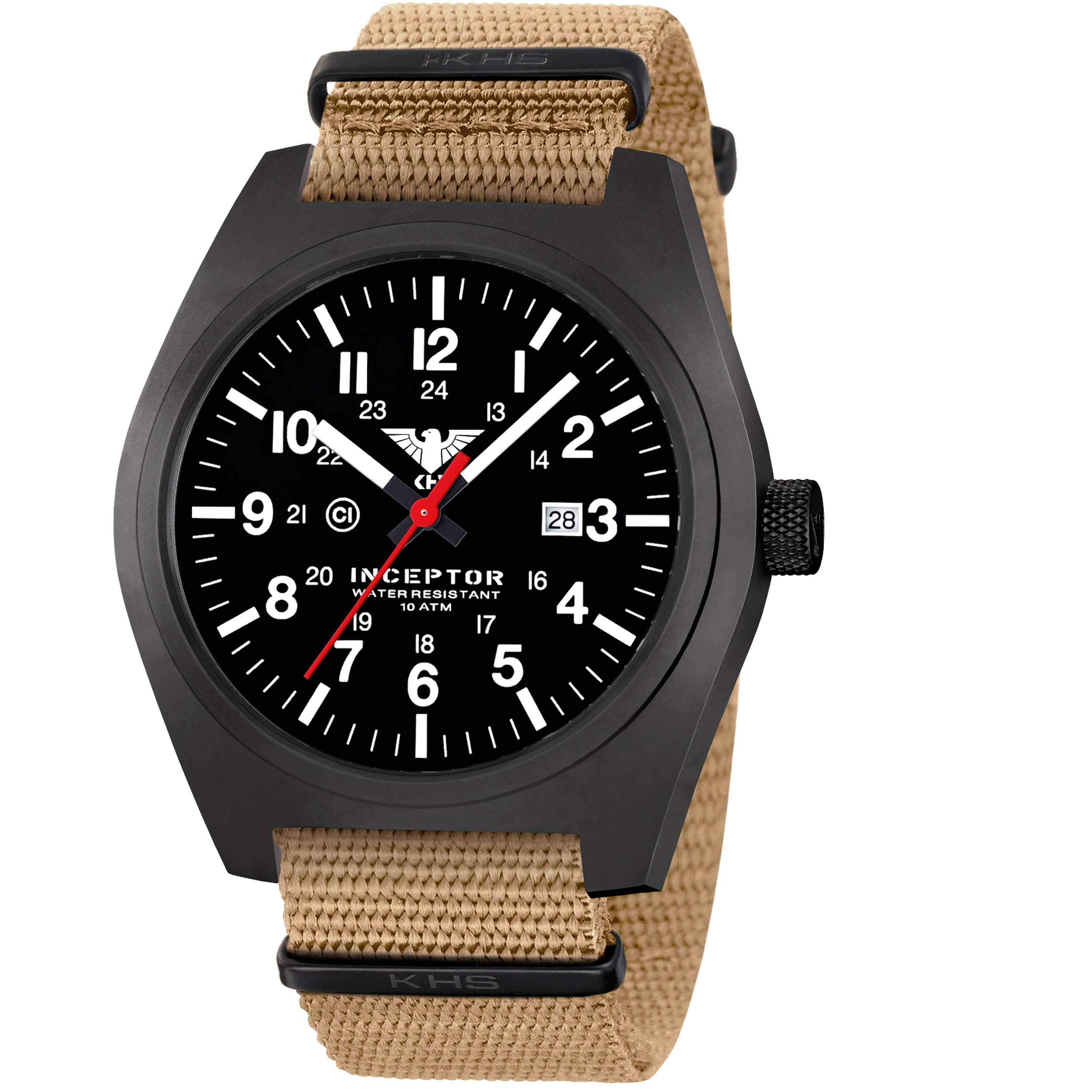 KHS Uhr Inceptor Black Steel Natoband tan