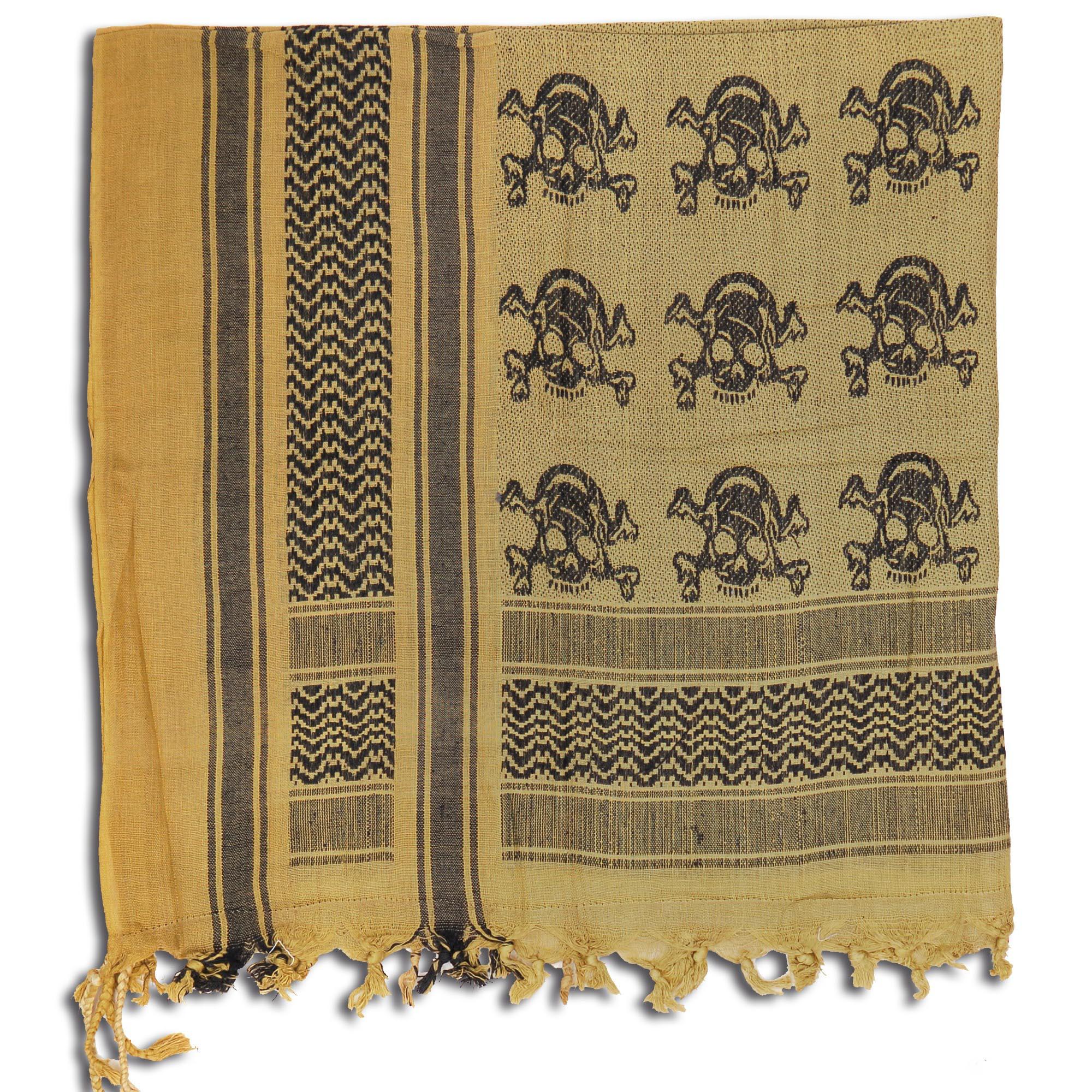 Shemag khaki-schwarz mit Totenköpfen