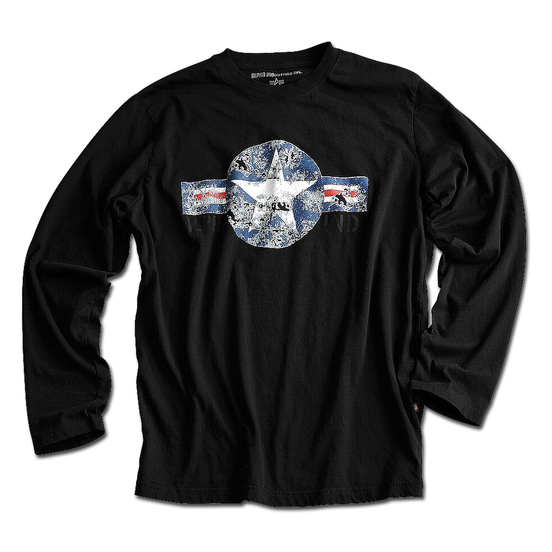 T-Shirt Alpha Industries USAF Langarm schwarz