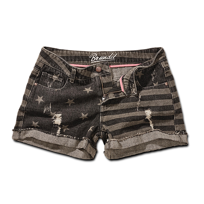 Brandit Denim Hotpants stars+stripes grau