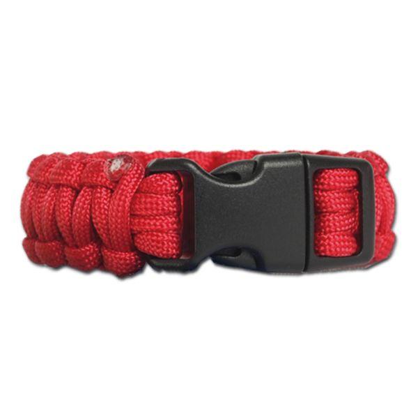 Survival Paracord Bracelet breit rot