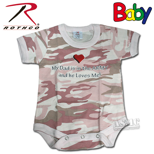 Baby Strampler Rothco My Dad pink-camo