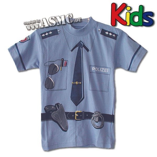 Kinder T-Shirt Polizei blau