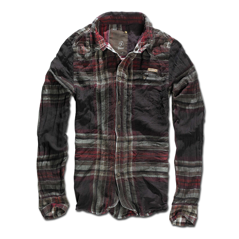 Brandit Raven Wire Shirt choco-red checked