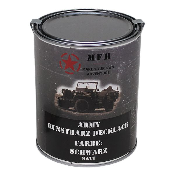 Farbdose Army matt schwarz 1 L