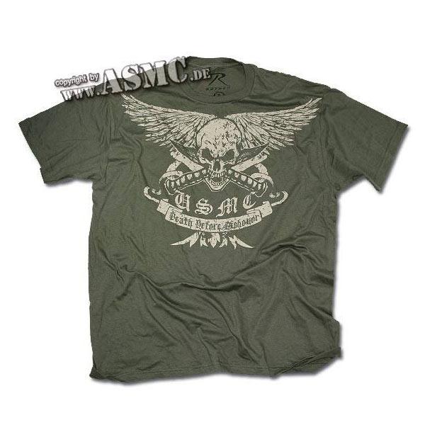 T-Shirt Black Ink Vintage green USMC Death