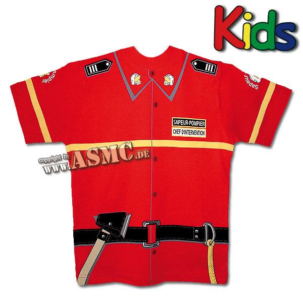 Kinder T-Shirt Pompier rot