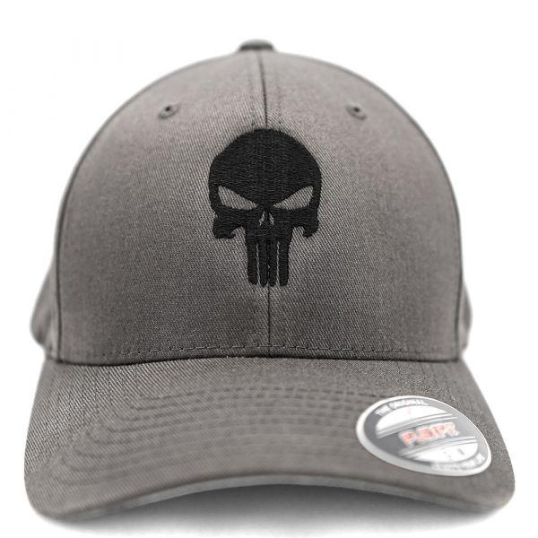 Café Viereck Flexfit Cap Punisher grau schwarz