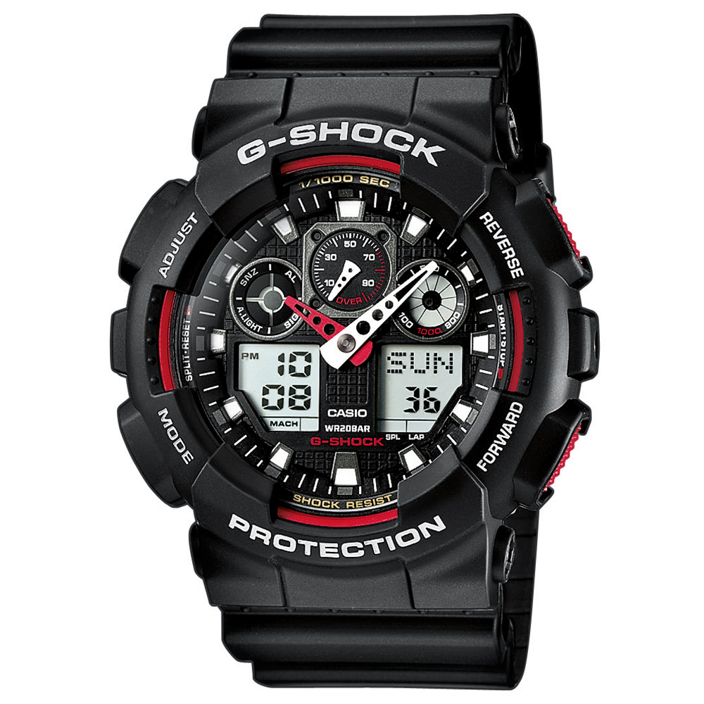 Casio Uhr G-Shock Classic GA-100-1A4ER schwarz rot