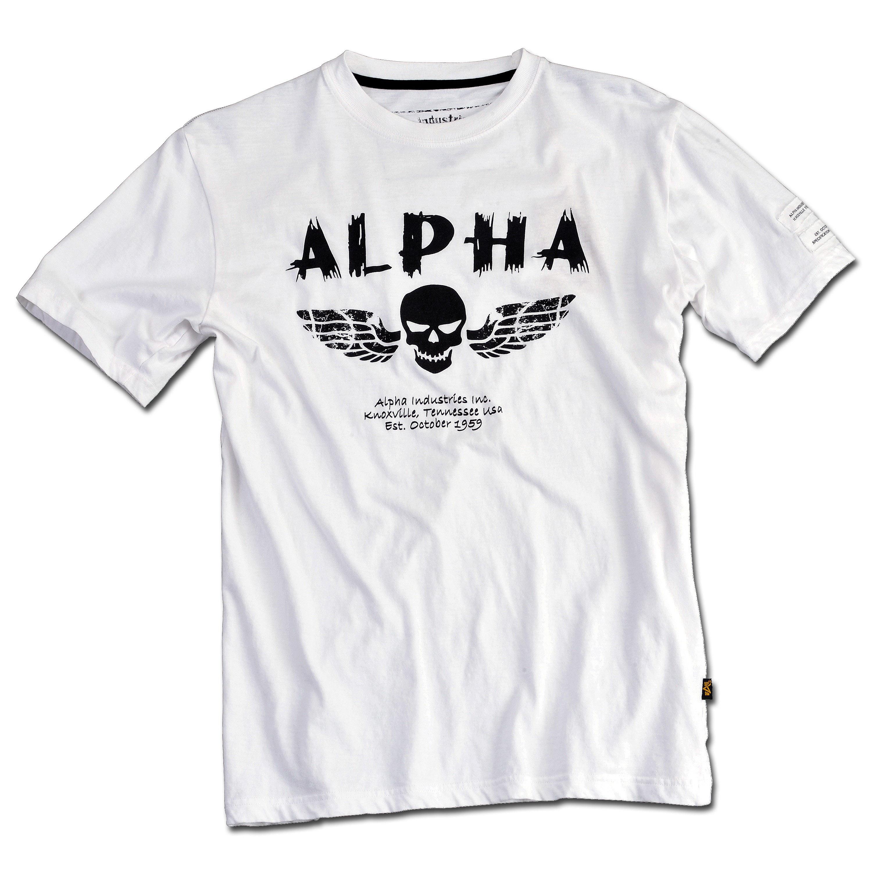 T-Shirt Alpha Industries Skull weiss
