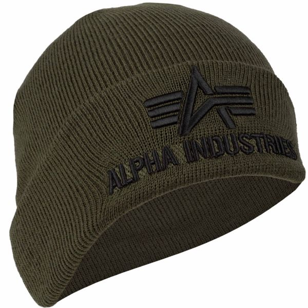 Alpha Industries Beanie 3D dark green