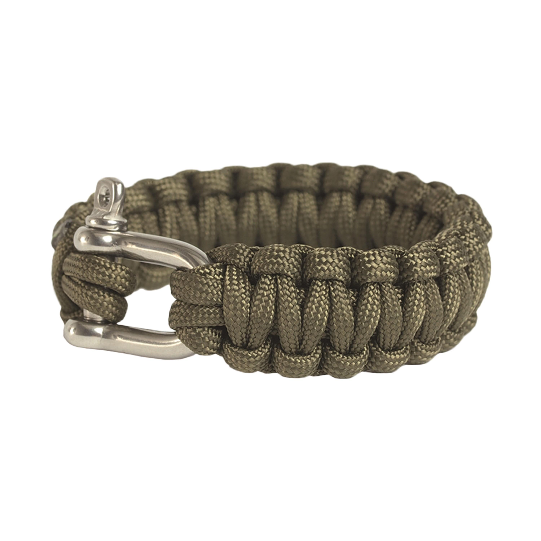Survival Paracord Bracelet breit Metallverschluss oliv