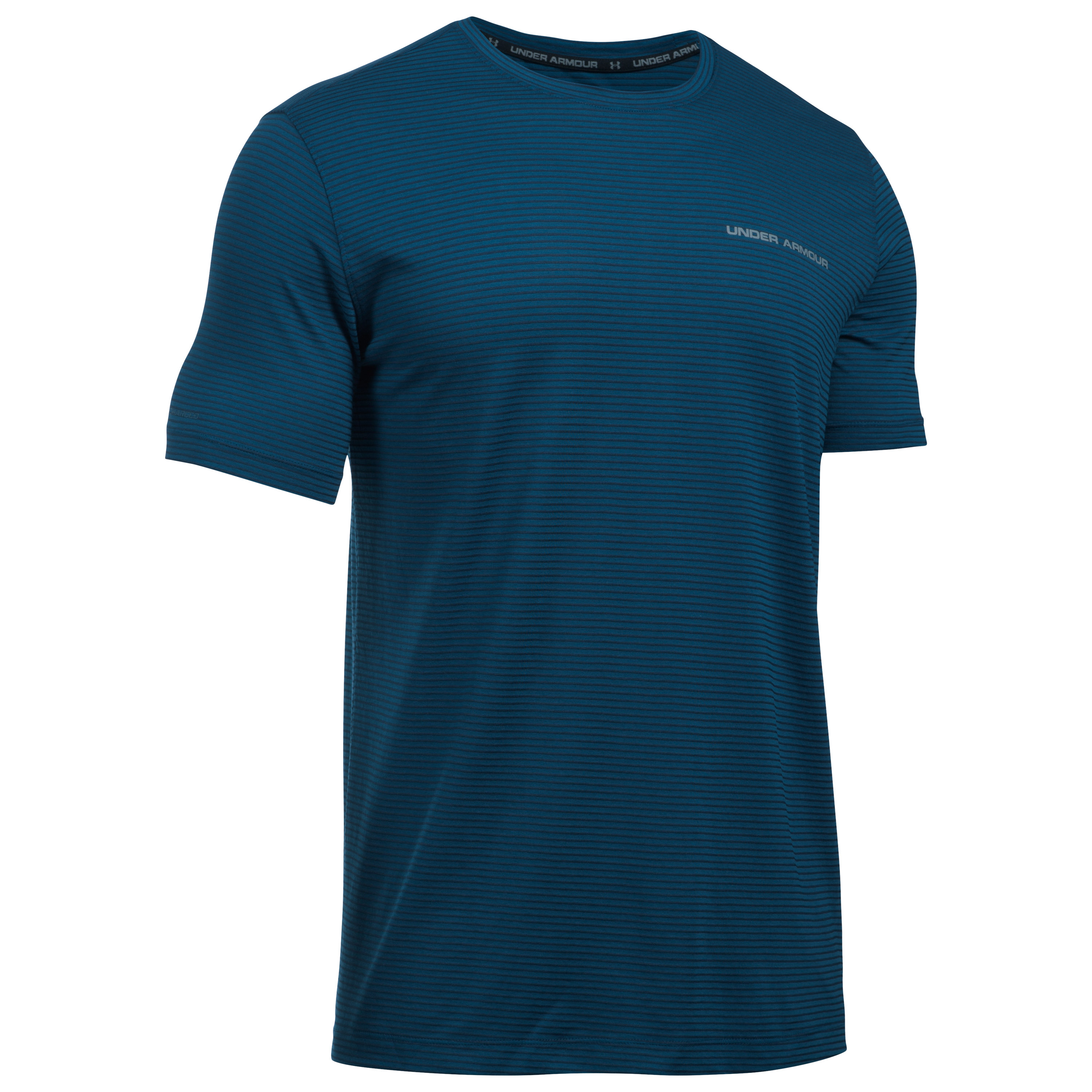 Under Armour Fitness T-Shirt Charged Cotton blau gestreift
