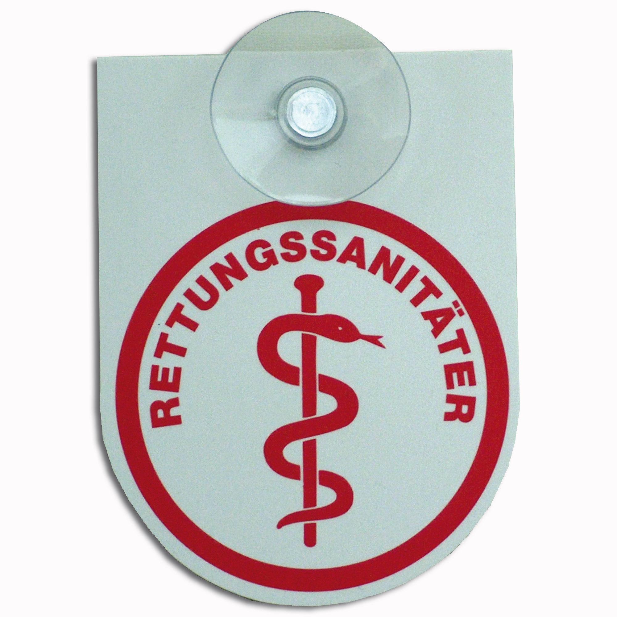 Schild mit Saugknopf Rettungssanitäter